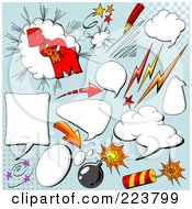 Royalty Free RF Clipart Illustration Of A Digital Collage Of Comic Clouds And Words 5 by Pushkin