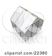 Clipart Illustration Of An Empty Glass Greenhouse With A Silver Frame