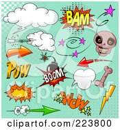 Royalty Free RF Clipart Illustration Of A Digital Collage Of Comic Clouds And Words 3