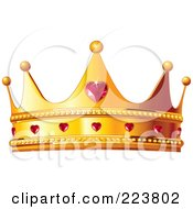 Golden Queen Crown With Ruby Hearts