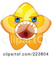 Cute Yellow Star Character Screaming