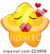 Cute Yellow Star Character Blowing Hearts