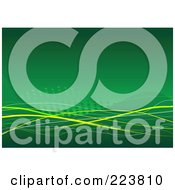 Royalty Free RF Clipart Illustration Of A Green Background With Waves Yellow Ribbons And Halftone