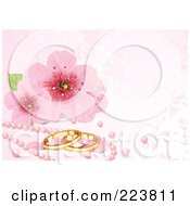 Royalty Free RF Clipart Illustration Of A Pink Wedding Background Of Cherry Blossoms Pink Pearls And Gold Rings by Pushkin