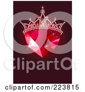 Ruby Heart With A Tiara Over Dark Red