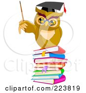 Royalty Free RF Clipart Illustration Of A Teacher Owl Holding A Pointer Stick On A Stack Of Books by Pushkin