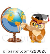 Royalty Free RF Clipart Illustration Of A Teacher Owl Holding A Pointer Stick To A Globe by Pushkin