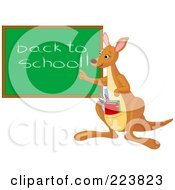 Royalty Free RF Clipart Illustration Of A Cute Teacher Kangaroo With Books In Her Pouch Pointing To A Back To School Chalk Board by Pushkin