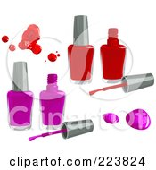 Royalty Free RF Clipart Illustration Of A Digital Collage Of Pink And Purple Nail Polish Bottles Drips And Brushes