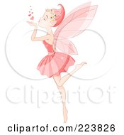 Royalty Free RF Clipart Illustration Of A Female Fairy Kicking Up A Leg And Blowing Hearts