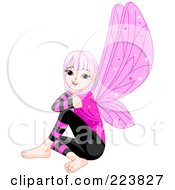 Royalty Free RF Clipart Illustration Of A Female Fairy With Purple Hair And Wings Sitting And Smiling