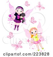 Royalty Free RF Clipart Illustration Of A Digital Collage Of Butterflies And Cute Fairies