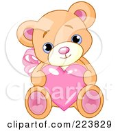 Royalty Free RF Clipart Illustration Of A Cute Teddy Bear With Pink Ears And Feet Holding A Love Heart by Pushkin