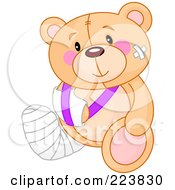 Royalty Free RF Clipart Illustration Of A Cute Teddy Bear With Bandages A Cast And Sling