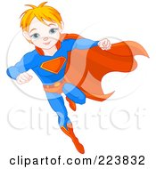 Royalty Free RF Clipart Illustration Of A Flying Super Boy To The Rescue