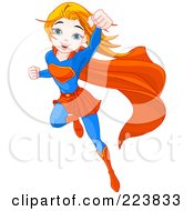 Royalty Free RF Clipart Illustration Of A Flying Super Girl To The Rescue