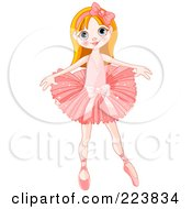 Royalty Free RF Clipart Illustration Of A Cute Caucasian Girl Ballerina by Pushkin