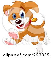 Royalty Free RF Clipart Illustration Of A Happy Beagle Puppy Running And Smiling