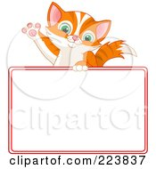 Royalty Free RF Clipart Illustration Of A Cute Cat Waving Over A Blank Sign Bordered In Red