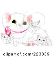 Royalty Free RF Clipart Illustration Of A White Mommy Cat With Her Kittens by Pushkin