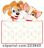 Royalty Free RF Clipart Illustration Of A Cute Puppy And Orange Kitten Smiling Over A Paw Print Sign