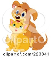 Royalty Free RF Clipart Illustration Of A Cute Marmalade Kitten Sitting In Front Of A Puppy by Pushkin