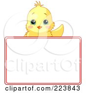 Royalty Free RF Clipart Illustration Of A Cute Yellow Chick Waving Over A Blank White Sign Framed In Red by Pushkin