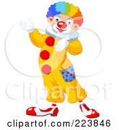 Royalty Free RF Clipart Illustration Of A Cute Clown Gesturing And Presenting by Pushkin