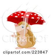 Royalty Free RF Clipart Illustration Of A Cute Hedgehog Holding An Umbrella And Reaching Out In The Rain by Pushkin