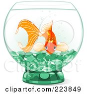 Royalty Free RF Clipart Illustration Of A Princess Goldfish In A Bowl With Green Glass Pebbles by Pushkin