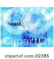 Clipart Illustration Of A Group Of Flat Blue Cog Gears Spinning With Globes On Top Of Them With Blue Binary Coding by KJ Pargeter