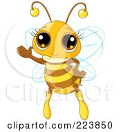 Royalty Free RF Clipart Illustration Of An Adorable Honey Bee Waving by Pushkin