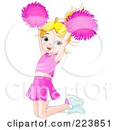 Cute Caucasian Girl Cheerleader Jumping And Holding Up Her Pom Poms