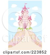 Royalty Free RF Clipart Illustration Of A Pink Fairy Tale Castle Atop A Hill Against A Blue Sky And Clouds by Pushkin