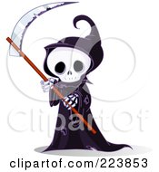 Royalty Free RF Clipart Illustration Of A Cute Grim Reaper Holding A Scythe by Pushkin