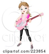 Cute Caucasian Girl Playing An Electric Guitar