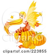 Royalty Free RF Clipart Illustration Of A Female Fairy With Long Hair Sitting On Autumn Pumpkins