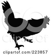 Royalty Free RF Clipart Illustration Of A Black Silhouetted Cockerel 6 by dero