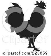 Royalty Free RF Clipart Illustration Of A Black Silhouetted Cockerel 9 by dero