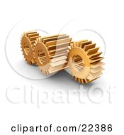 Clipart Illustration Of Three Working Golden Gears With Deep Rivets