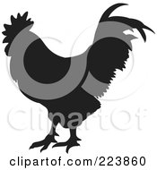 Royalty Free RF Clipart Illustration Of A Black Silhouetted Cockerel 13 by dero
