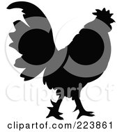 Royalty Free RF Clipart Illustration Of A Black Silhouetted Cockerel 8 by dero