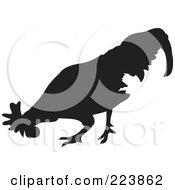 Royalty Free RF Clipart Illustration Of A Black Silhouetted Cockerel 3 by dero