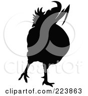 Royalty Free RF Clipart Illustration Of A Black Silhouetted Cockerel 14 by dero