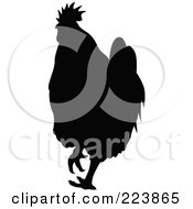 Royalty Free RF Clipart Illustration Of A Black Silhouetted Cockerel 12 by dero