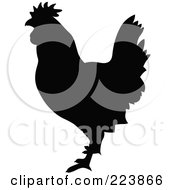 Royalty Free RF Clipart Illustration Of A Black Silhouetted Cockerel 10 by dero