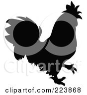 Royalty Free RF Clipart Illustration Of A Black Silhouetted Cockerel 4 by dero