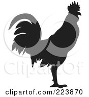 Royalty Free RF Clipart Illustration Of A Black Silhouetted Cockerel 11 by dero