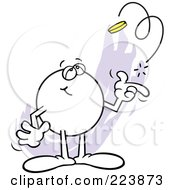 Royalty Free RF Clipart Illustration Of A Dreamy Moodie Character Flipping A Coin by Johnny Sajem