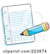 Royalty Free RF Clipart Illustration Of A Pencil Writing On A Piece Of Ruled Paper by Johnny Sajem